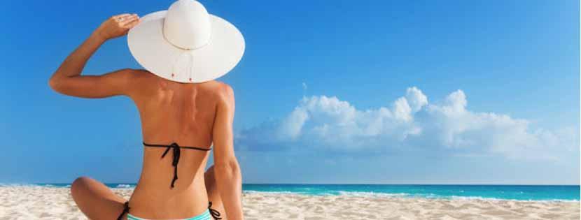 Summer skincare, women on beach